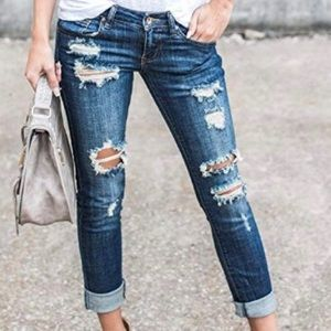 WOMENS JUNIORS DISTRESSED RIPPED DESTROYED JEANS